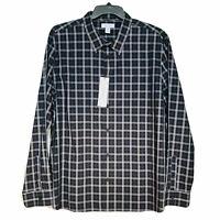 Calvin Klein Men's Long Sleeve Button Down Plaid Check Shirt Black Blue XXL 2XL