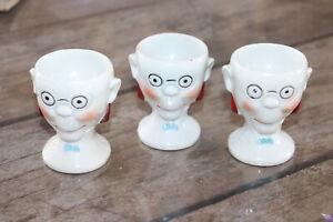 RARE Coquetier porcelaine Foreign - 6,5 cm - TETE D'HOMME - OEUF - EGG