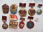 10 set lot SOVIET RUSSIAN BADGE PIN medal USSR LENIN KPSS KOMSOMOL AWARD