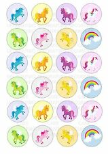 24 Unicorns Unicorn Wafer / Rice Paper Cupcake Topper Edible Fairy Cake Toppers