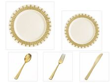 Cream w/Gold Regal China-like Plastic Plates Gold Cutlery Set 500 Pieces Wedding