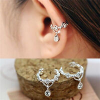 Women Ear Cuff Wrap Rhinestone crystal Clip On Earring Jewelry silver 2 pcs