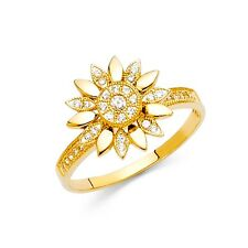 Band Designer Style Floral Cz Fashion Fancy Flower Ring Solid 14k Yellow Gold