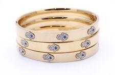 "Stainless Steel Gold-Tone White Blue CZ Hamsa! Good Luck Bangle Bracelet, 7.5""!!"