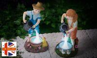 GloBrite Solar Powered LED Boy or Girl Lantern Lamp Outdoor Garden Decor Patio