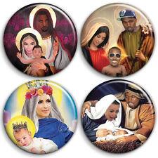 Kanye West BABY YEEZUS - 4 x Button Badge Set - 1 inch Chirstmas Kim Kardashian