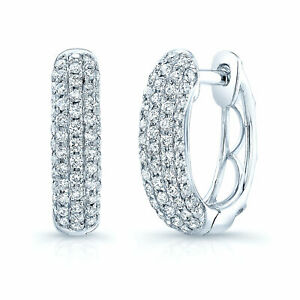Diamond Pave Huggie Earrings 14K White Gold Natural Round Cut Hoops VS1 F 0.62CT