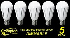 5 x DIMMABLE LED 12W Pearl Light Globes / Bulbs A60 GLS Bayonet B22 Warm White