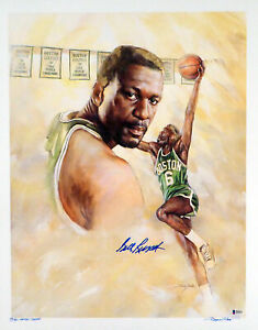 BILL RUSSELL AUTOGRAPHED 20X25 LITHOGRAPH CELTICS ARTIST PROOF BECKETT 153118