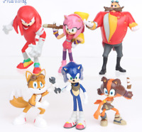 6PCS/SET Sonic the Hedgehog Shadow Tails Amy Rose PVC Action Figures Toys Dolls