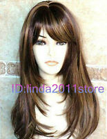 New Fashion Long mix Brown Straight Lady's Cosplay Hair Wig + free wig cap