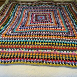 """Handcrafted multi coloured crochet blanket 50"""" square new cosy warm"""
