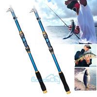 2X 2.1M Telescopic Fishing Rod Spinning Fish Hand Tackle Sea Carbon Fiber Pole