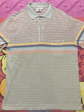 Hobie Polo 1980 Vintage Striped Front Pock Short Sleeve Shirt Rainbow Size Xlt