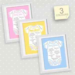 PERSONALISED BABY SHOWER SIGN THE BABY GROW PRINT, PREDICTION CARD ALTERNATIVE
