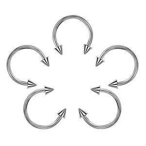 5x Surgical Steel Body Jewellery Spike End Barbell Horseshoe Ring Lip Ear Tragus