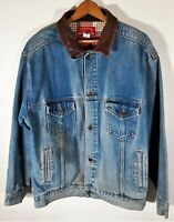 Vintage 90s MARLBORO Country Store Leather Collar Distressed Denim Jean Jacket L