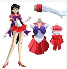 G34 Sailor Moon Mars Red Sailormoon Costume Cosplay Uniform Fancy Dress + Gloves