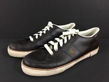 Mens Polo Ralph Lauren Sneakers Harold Brown Leather Shoes Low Top Size 12 D