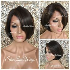 Human Hair Blend Bob Lace Front Wig Straight Brown #4 Highlights #30 Heat Safe