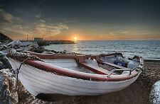 Large Framed Print - Small Fishing Boat on the Shores of the Ocean (Picture Art)