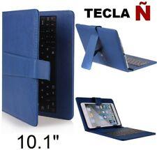 """Funda con Teclado en Español para Tablet Pc 10"""" CoverPAD Azul Letra Ñ"""