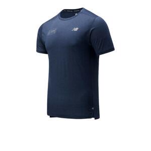 New Balance Mens London Edition Impact Run T Shirt Tee Top Navy Blue Sports