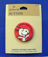 Hallmark BUTTON PIN SNOOPY Vintage Happy Birthday PEANUTS Pinback NEW