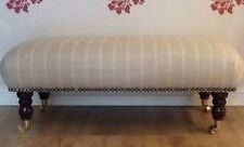 A Quality Long Footstool / Stool In Laura Ashley Linen Stripe Natural Fabric
