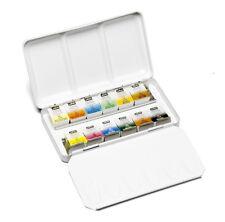 Pebeo Aquarelle Fine Watercolour 12 Half Pan Metal Tin Pocket Travel Paint Set