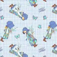 HOLLY HOBBIE GINGHAM BUTTERFLIES QUILTING FABRIC