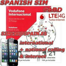VODAFONE INTERNATIONAL SPANISH PAYG PREPAID 4G LTE SIM CARD INTERNET DATA SPAIN
