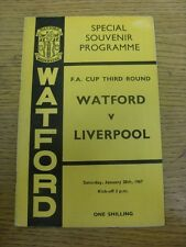 28/01/1967 Watford v Liverpool [FA Cup] (pin hole). Item appears to be in good c