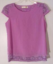Aishang Yige Women's Shirt Top Size Large L Purple Floral Lace Cap Sleeve