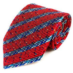 Venturi Uomo Tie Red Multicolor Polka Dots Pleated 100% Silk Hand Made Necktie