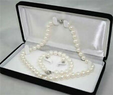 "8-9mm Natural White Akoya Cultured Pearl Bracelet 7.5"" Necklace 18"" Earrings Set"