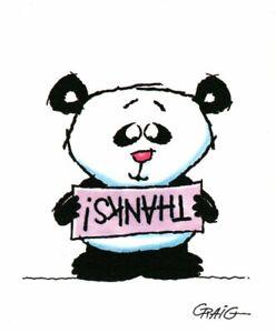 Happy Panda Bear Thank You Thanks Ambassador Note Cards Artist Craig - Set of 6