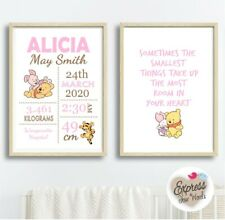 Winnie The Pooh & Piglet Nursery Wall Art Set, Baby Birth Print