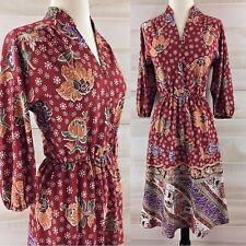 Vintage 70s floral folk peasant shirt dress hippie boho rust red S M casual
