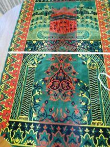 Prayer Rug Carpet Islamic Meditation Mat Turkish Portable Green and Red