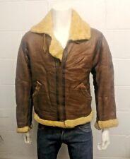 Vintage PERFECT Genuine Sheepskin Shearling Leather B3 Flying jacket. Brown,