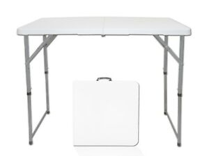 4ft Rectangle Folding Table Bi-fold HDPE White 3 Height Adjustable for Party BBQ