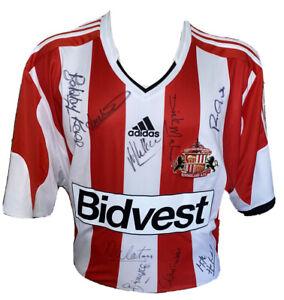 Signed Retro Sunderland 1973 Home Shirt By Kerr Montygomery Hughes Halom Malone