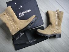 JIL SANDER NAVY Charlotte Lamm Fell Stiefel Boots Leder Schuhe Damen EU 36,5
