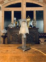Art Deco Wrought Iron & Frosted Glass Table Lamp, Edgar Brandt, Muller Freres