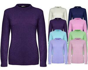 Ladies Women Knitted Long Sleeve Stretchable Crew Neck Jumper Sweater Pullover