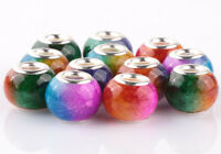 50pcs Mix SILVER MURANO Gradient spacer beads fit European Charm Bracelet AB927