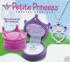Pink or Purple Crown Box Petite Princess Crystal Necklace Crown Jewel Box NEW