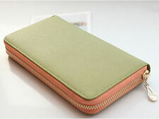 Genuine Leather Women's Zip-Around Wallet Zipper Envelope Pouch Purse Lime Green