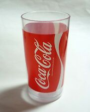 "COCA COLA Vintage PLASTIC TUMBLER Glass Red White COKE 5.5"" tall Malaysia"